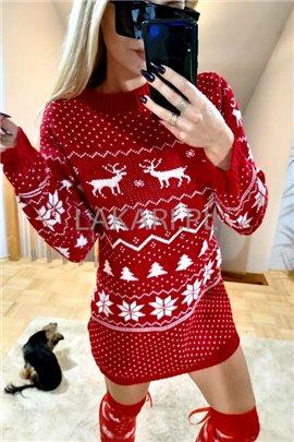 Sweter D101 Renifer Long czerw