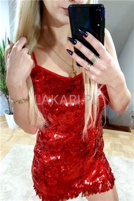 Sukienka Sylwia 01 cekiny czerw